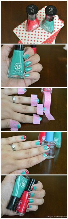 Color Blocking Nails Tutorial with Sally Hansen #IHeartMyNailArt