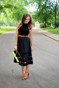 Black Sheer Panel Midi Skirt & Crop Top   Because I'm Obsessed blog