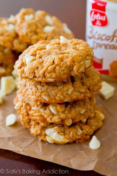 oatmeal cookies made with Biscoff spread and stuffed with sweet white ...