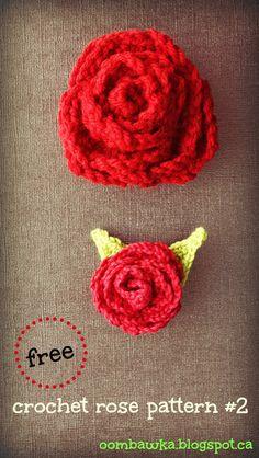 Free Crochet Pattern - Rose Brooch with Leaves Oombawka Design Crochet