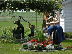 Amish Family  at home
