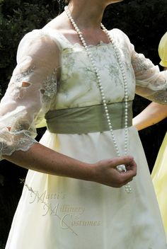 Sage Ivory Regency Edwardian Jane Austen Ball gown by MattiOnline