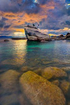 Bonsai Rock At Lake Tahoe, Nevada USA