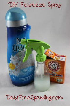 DIY Febreeze Spray - equal parts baking soda & fabric softener (of your choosing) and 2x amount water. Wallahh!! ~I will certainly be trying this, could never imagine my home without fabreeze but if this works I can not wait to save the $$ on fabric sprays!!