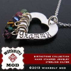 Birthstone Necklace  Birthstone Jewelry  by wickedlymodpendants, $74.00