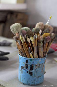 paint brushes pretty blue artist