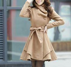 Camel Long Coat/ Winter Coat/Woman coat/ Long Jacket/ Long Sleeves/Golilla Collar Coat