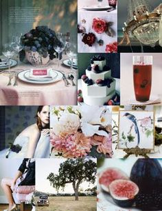 Midnight blue, dark corally pink and light blush. Add gold accents and fresh figs, and you've got a party.