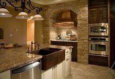 custom homes, color schemes, copper, hoods, tuscan kitchen, stone, farmhouse sinks, farm sinks, kitchen designs