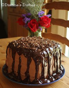 Triple Chocolate Ganache Cake. Decadently sinful! http://www.diannesdishes.com/2011/09/triple-chocolate-ganache-cake.html