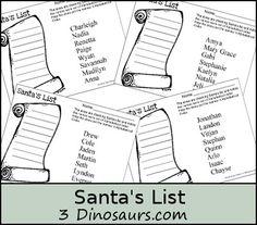 Free Santa's Lists Printable - 3Dinosaurs.com