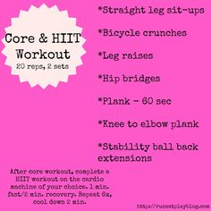 Core and HIIT workout http://runeatplayblog.com