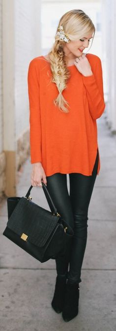 Love this sweater & leather skinnies