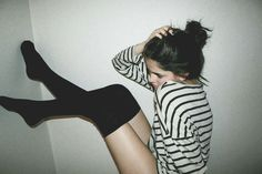 fashion, style, thighs, outfit, thigh highs, knee highs, stripes, knee high socks, black