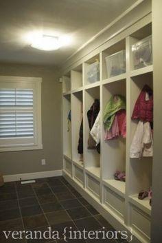 mudroom lockers...love this idea:)