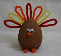 Thursday, November 21 & Monday, November 25, 2013. Thanksgiving Styrofoam Turkeys! We painted styrofoam balls brown and stuck pipe cleaner feathers, beak, waddle and feet in it when the paint dried. Then two eyes completed our turkeys!!