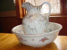 Vintage Dunnbennett Imperial Semi China Burslem England Pitcher and Bowl | eBay