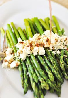 Asparagus with Vinaigrette, Feta, Parmesan and Almonds