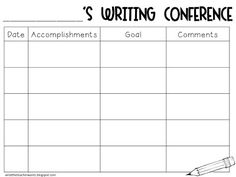 Writing conference... Maybe I can keep this info in my own data binder, but also have my students keep a data sheet in their writing journals? Then, before they start writing each day, I'll have them reference what they're supposed to be working on.
