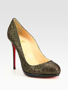 Christian Louboutin  Glitter-Coated Leather Platform Pumps $795