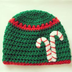 Candy cane crochet beanie hat ~ FREE PATTERN at ThatsTheCutestThing.etsy.com