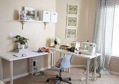 someday a cute craftroom idea, sewing tables, sew tabl, craftsew room, sewroom, craftroom, desk, craft room, sewing rooms