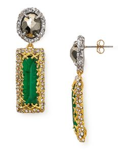 Alexis Bittar Pave Accented Gold Drop Post Earrings