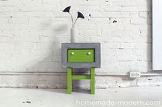 DIY Concrete Nightstand made with legos