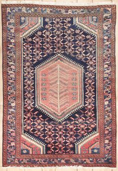 {Semi-antique Persian Malayer Area Rug 38121}
