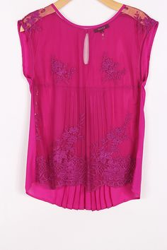 Embroidered Lace Top in Fuchsia