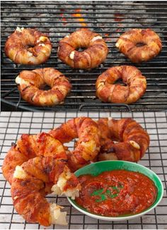 Bacon-wrapped Pineapple Mozzarella Rings . . . a slice of pineapple and onion, a mozzarella cheese stick, wrapped in bacon and grilled... this makes me so hungry!