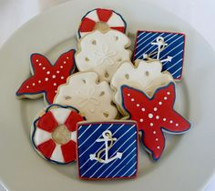 Nautical theme cookie favors, decorated in navy and red: starfish, sand dollars, lifepresrvers and anchors,  1 Dozen summer decorated cookies, nautical decorated cookies, sand dollars, nautical theme, summer themed cookies, theme cooki, cooki favor, nautic theme, decor cooki