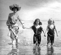 At the beach, early 1900s
