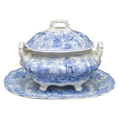 """Early 19th Century Staffordshire Soup Tureen  ENGLAND  1840  AN EARLY 19TH CENTURY UNMARKED STAFFORDSHIRE BLUE AND WHITE COVERED SOUP TUREEN (12""""X8""""X12"""") AND A COMPLEMENTARY PLATTER (17""""), STAMPED S.ALCOCK& CO. MILL POTTERY, BURSLEM, CIRCA 1828-29."""