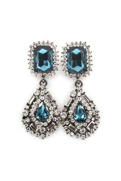 Delphine Crystal Earrings in Blue on Emma Stine Limited