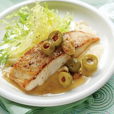 """Martini Mahimahi by Sunset Magazine. Meaty mahimahi stands up to olives' boldness. Prep and Cook Time: 25 minutes, plus about 20 minutes to marinate. Notes: Don't marinate for more than the recommended time; otherwise, the alcohol will """"cook"""" the fish."""
