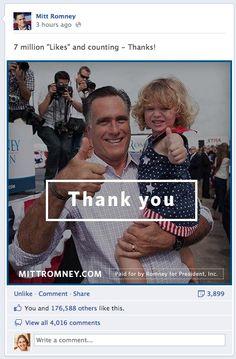 Romney 7 million Facebook fans