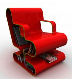Bookshelf inside a chair! This would be handy in small apartments or dorm rooms.