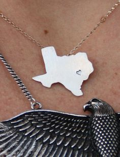 deep in the heart of TeXAS necklace. handmade in the US...sterling silver.