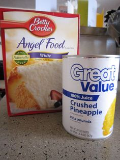 Put dry cake mix in bowl (do not add the water as directed on the box). Add entire can of pineapple with juice. Mix carefully until all dry mix in incorporated. Pour into either a tube pan, 9x13 pan, or cupcake pan with liners. Bake at 350 degrees for time on box for size pan (around 30-40 minutes. When sides pull away from pan and toothpick, cake is done.