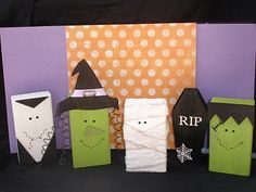 2X4 halloween decorations, gift bags, treat bags, paper bags, halloween crafts, wood blocks, box, monsters, monster mash