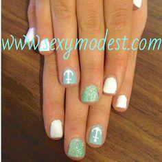 anchor nails! www.sexymodest.com #nails #glitter #nailart #summernails #style #beauty #white #mint #anchor #design #naildesign #sexymodest