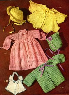 Vintage Baby Jackets, Bonnets and Bib free crochet patterns