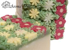 Image of lovely embeds in cold process gardeners soap, no recipe or tutorial at this site. -Tentance