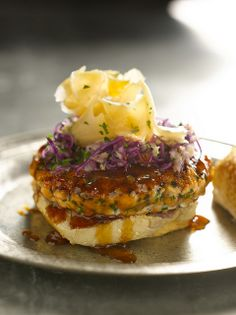 Salmon Burgers with Hoisin #Barbecue Sauce #recipe from Bobby Flay #4thofJuly