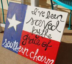 Texas Southern Charm Canvas// Texas Flag by KanvasbyKenzie on Etsy