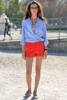red shorts with button down