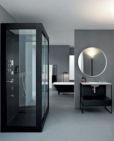 grey and black colour scheme for bathroom