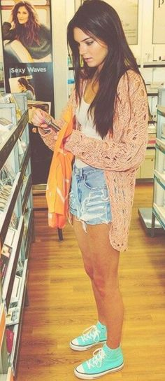 sweater, fashion, style, high waisted shorts, kendall jenner, summer outfits, summer cloth, shoe, kendalljenner