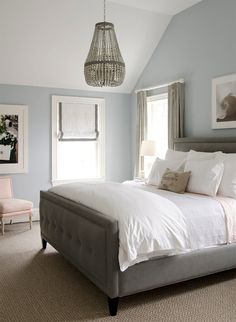 bed frames, wall paint colors, blue walls, grey, white bedding, bedrooms, master bedroom, roman shades, blues